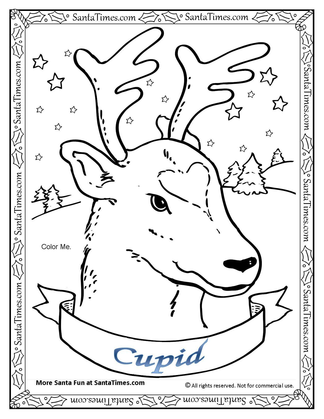 Santa And Reindeer Coloring Pages Free Printable With Cupid The