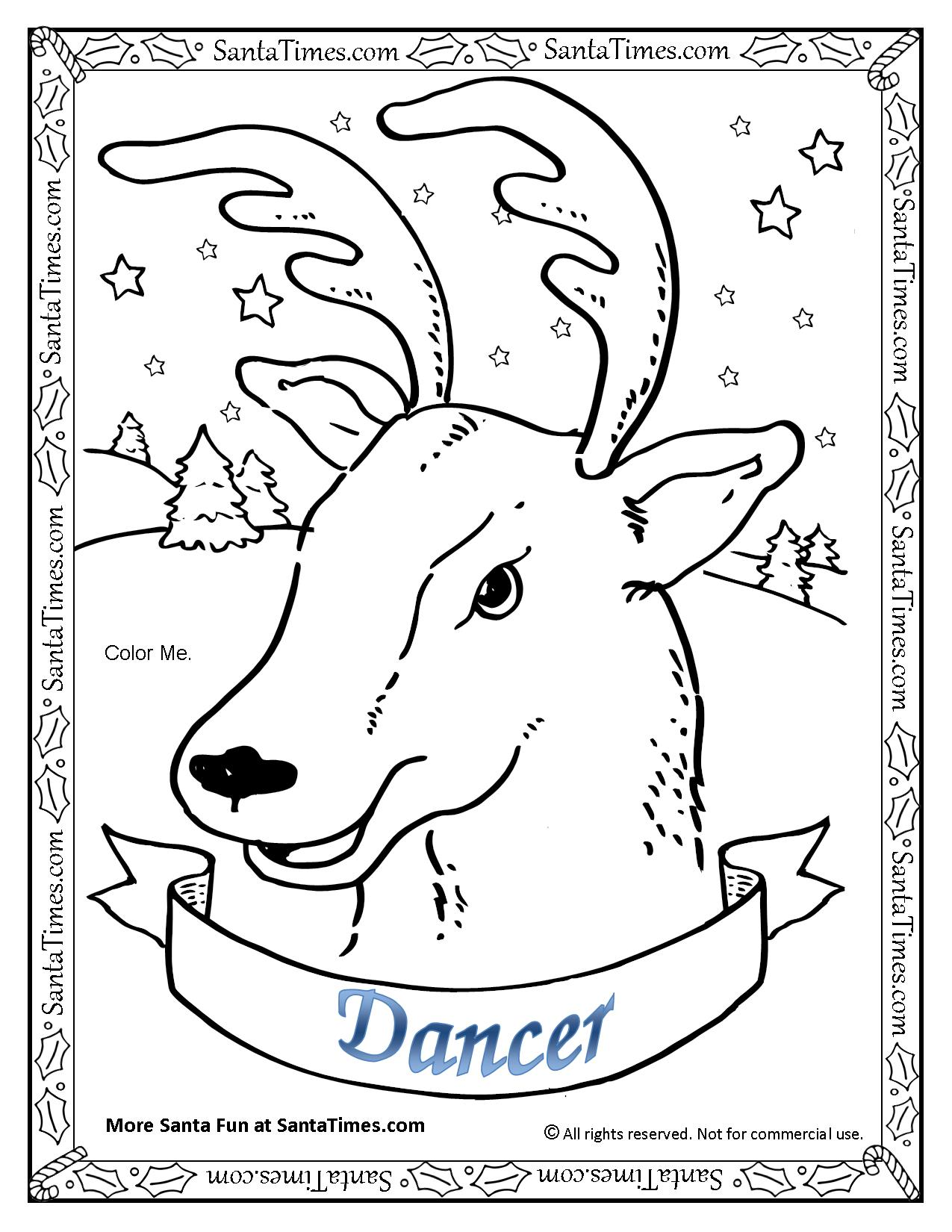 Santa And Reindeer Coloring Pages Free Printable With Cute Christmas Page