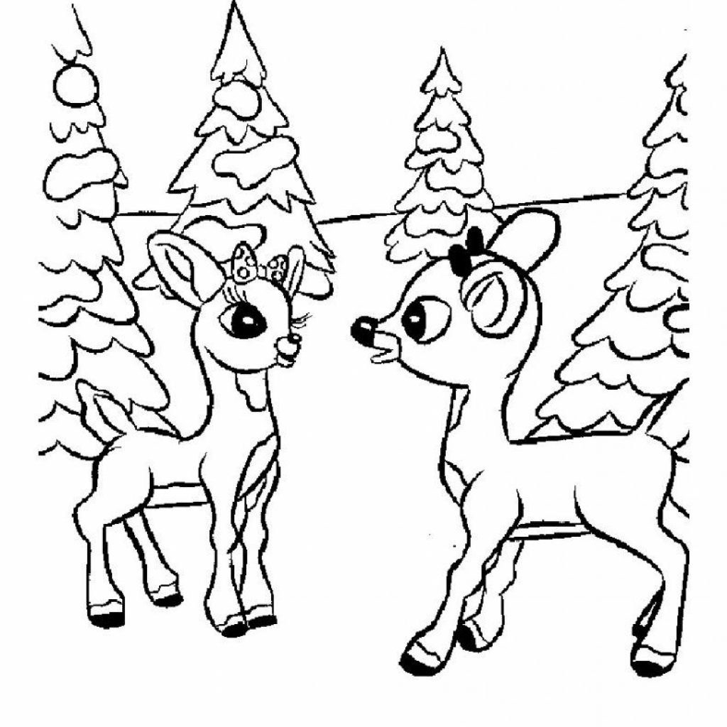 Santa And Reindeer Coloring Pages Free Printable With For Kids Kid S Crafts