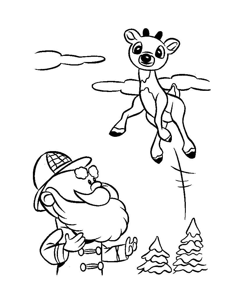 Santa And Reindeer Coloring Pages Free Printable With Hellokids Com