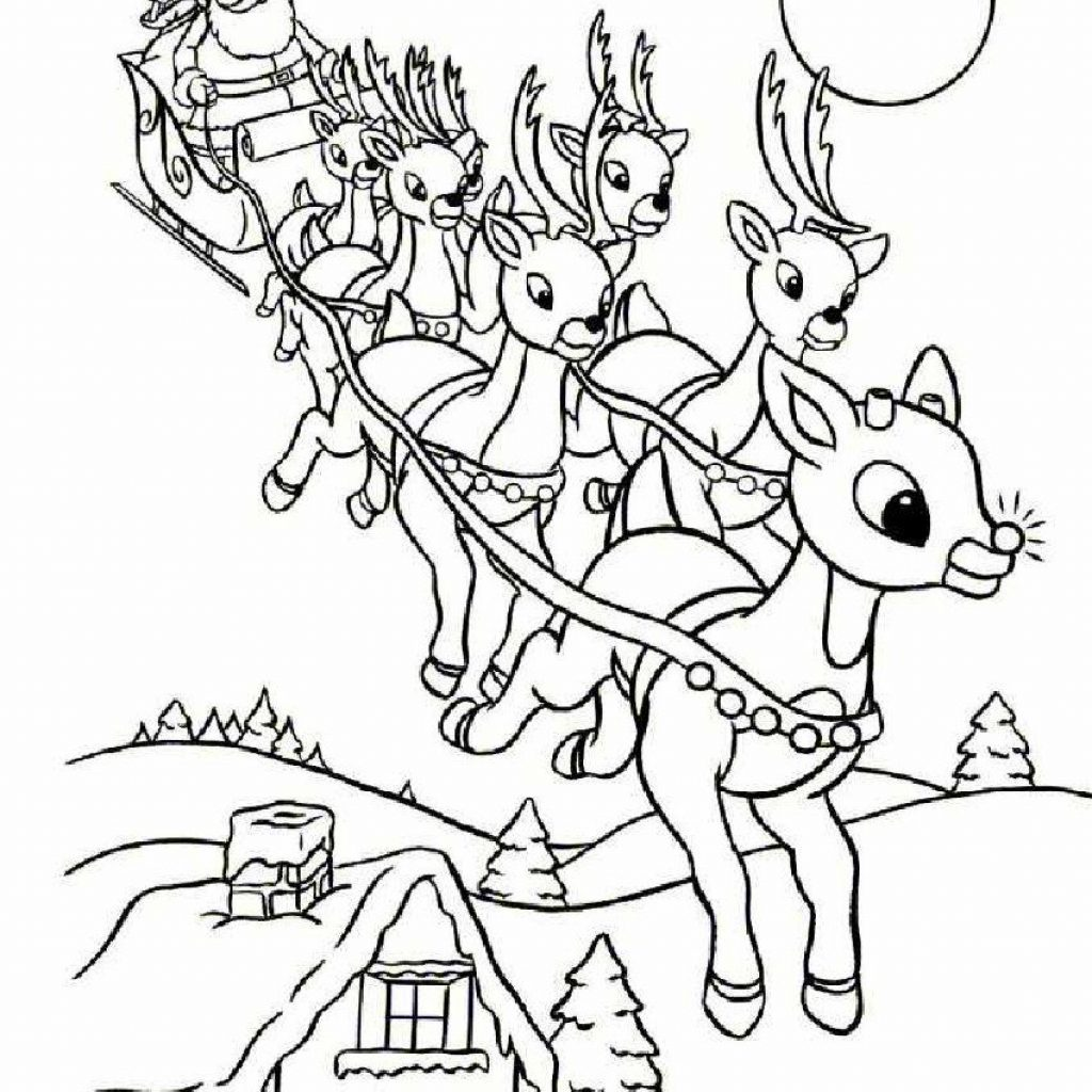 Santa And Reindeer Coloring Pages Free Printable With Online Rudolph Other Printables