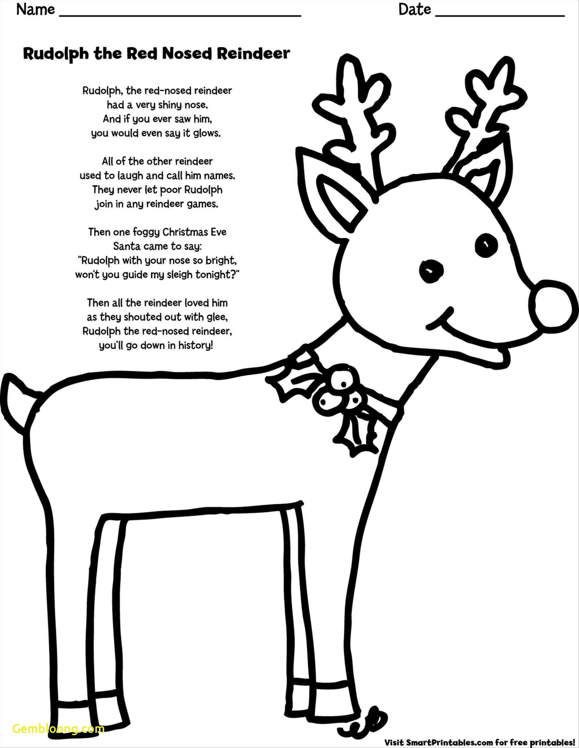 Santa And Reindeer Coloring Pages Free Printable With Rudolph The Red Nosed Page Christmas