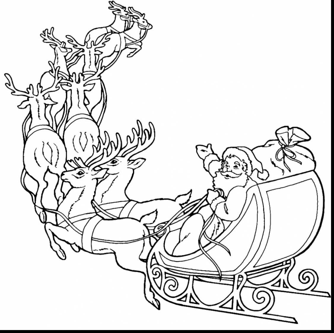 Santa And Reindeer Coloring Pictures With Claus Pages Wordsare Me
