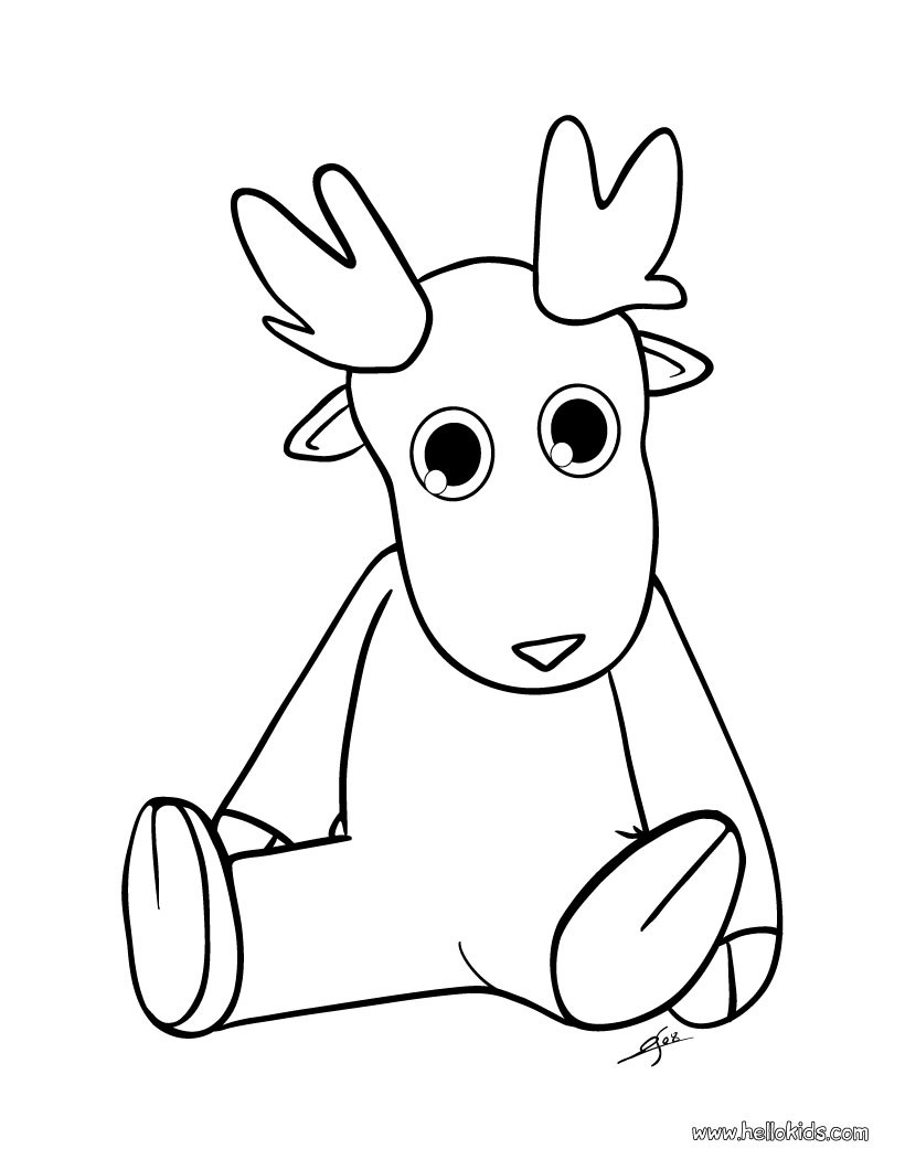 Santa And Reindeer Coloring Pictures With Cute Dasher Pages Hellokids Com