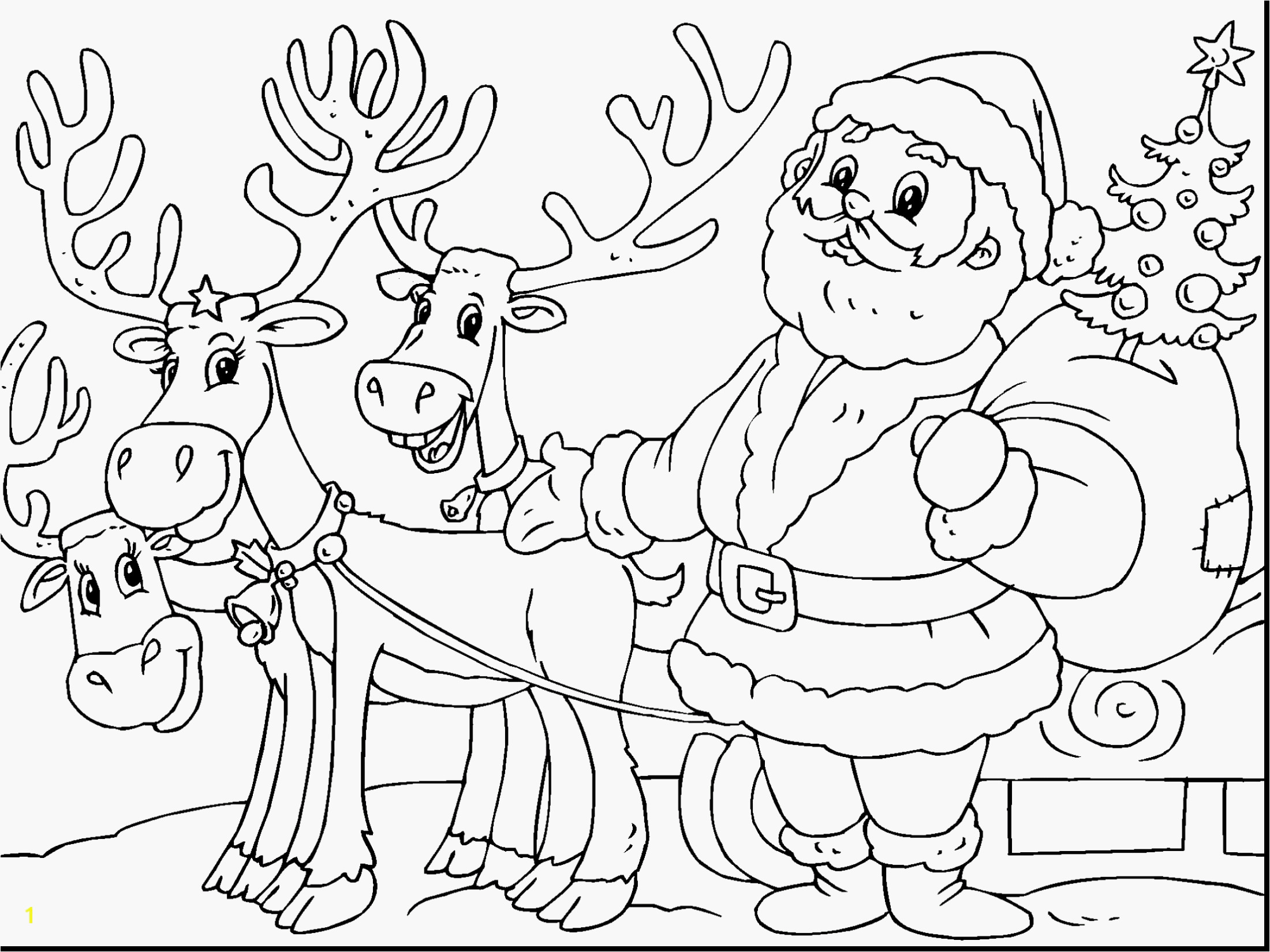 Santa And Reindeer Coloring Pictures With Pages Claus His