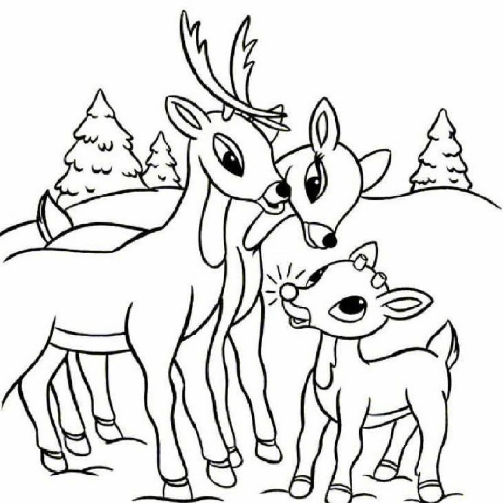 Santa And Reindeer Coloring Pictures With Pages Hellokids Com