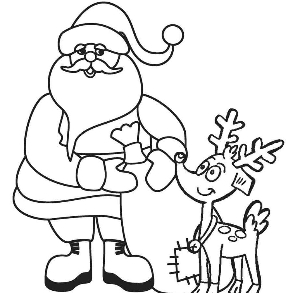 Santa And Reindeer Coloring Pictures With Pages Printable 5 Futurama Me