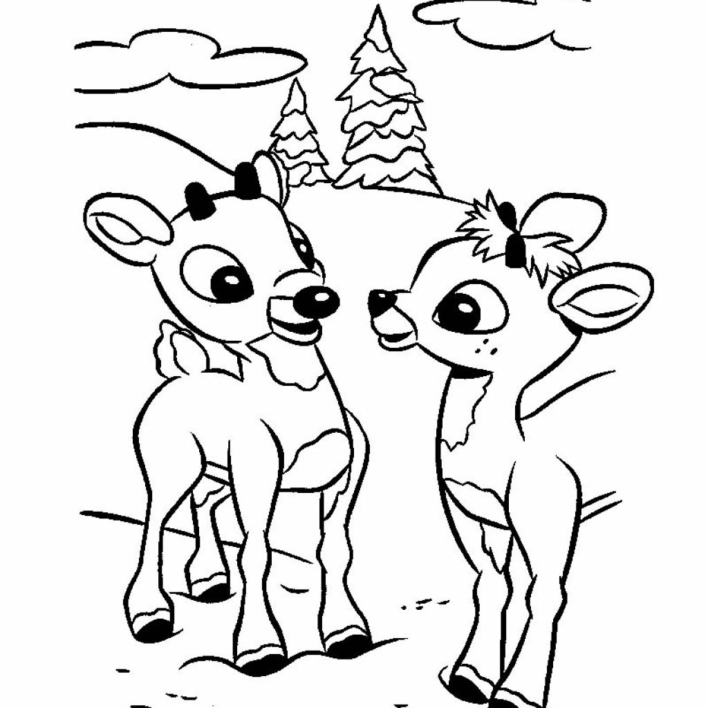 Santa And Reindeer Coloring Pictures With Rudolph Sleigh Pages Hellokids Com