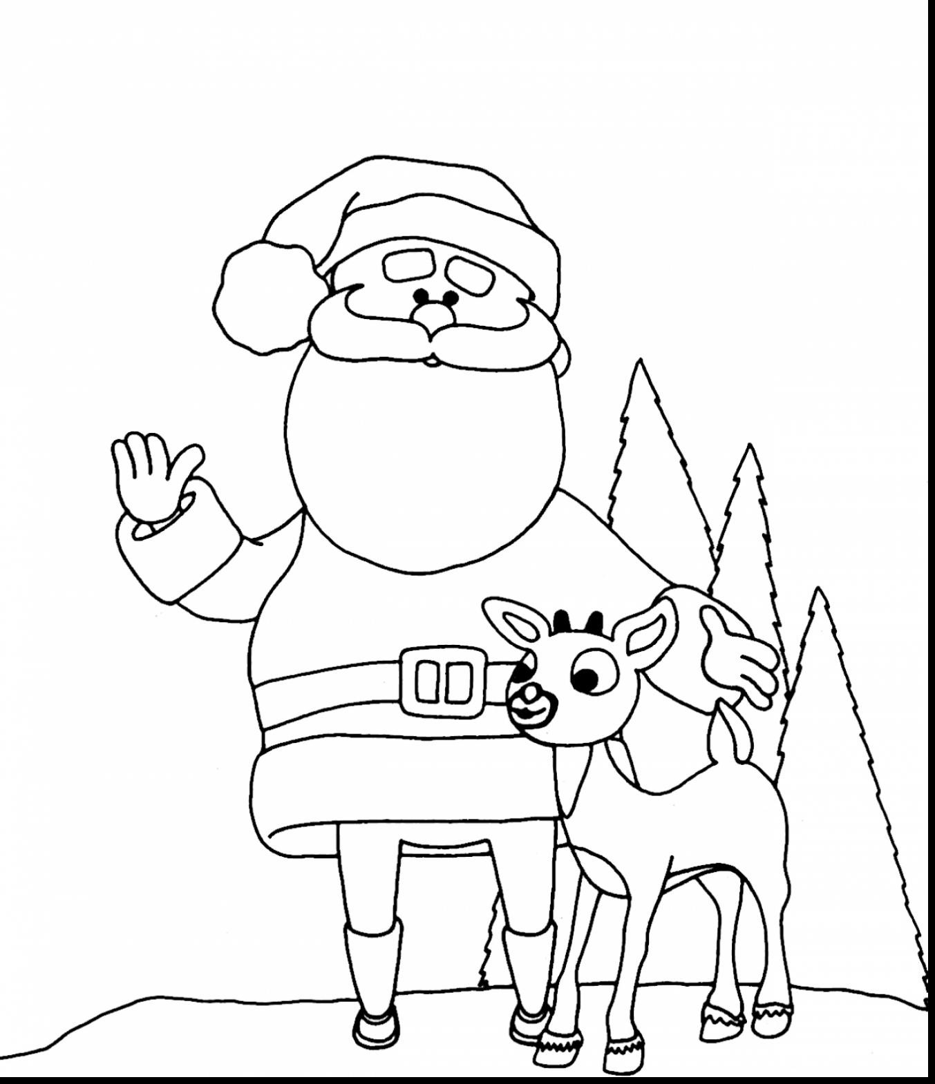 Santa And Reindeer Coloring Pictures With Rudolph The Red Nosed Pages To Print Free