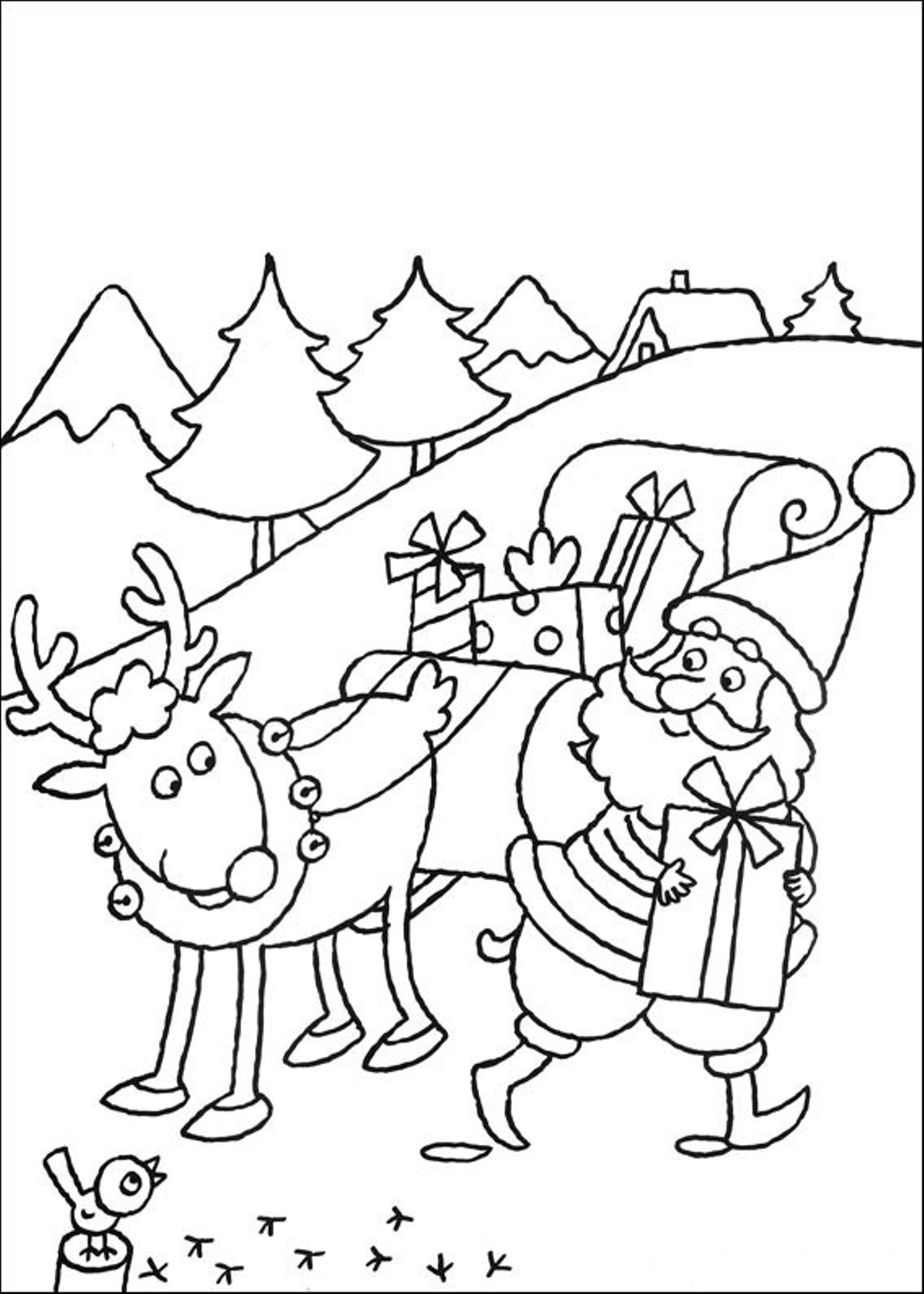 Santa And Reindeer Coloring Pictures With S Sheets His Pages Printable