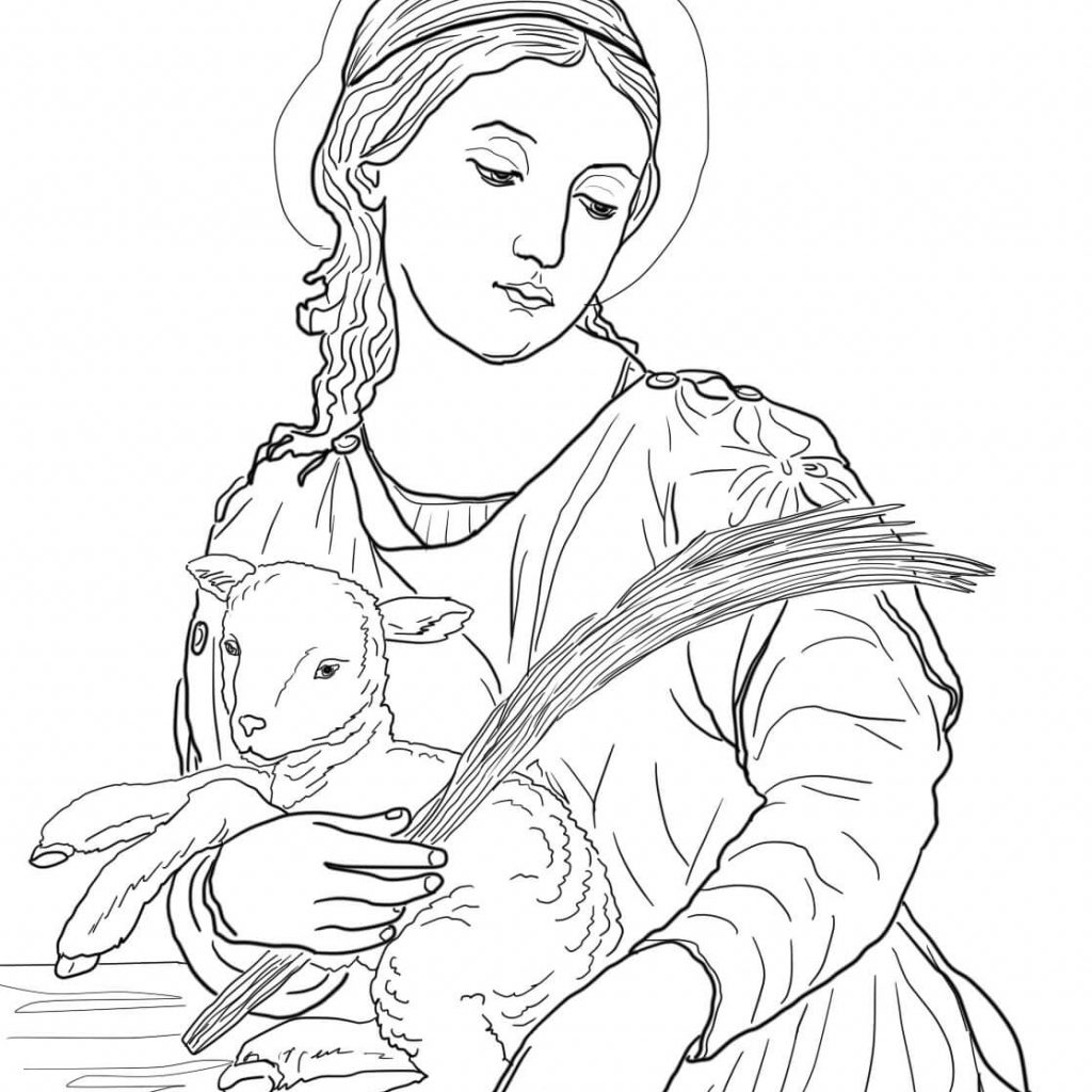 Santa Anna Coloring Page With Saint Agnes Free Printable Pages