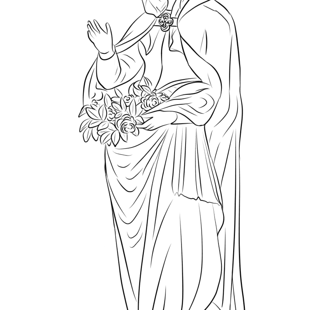 Santa Anna Coloring Page With Saint Elizabeth Of Hungary Free Printable Pages