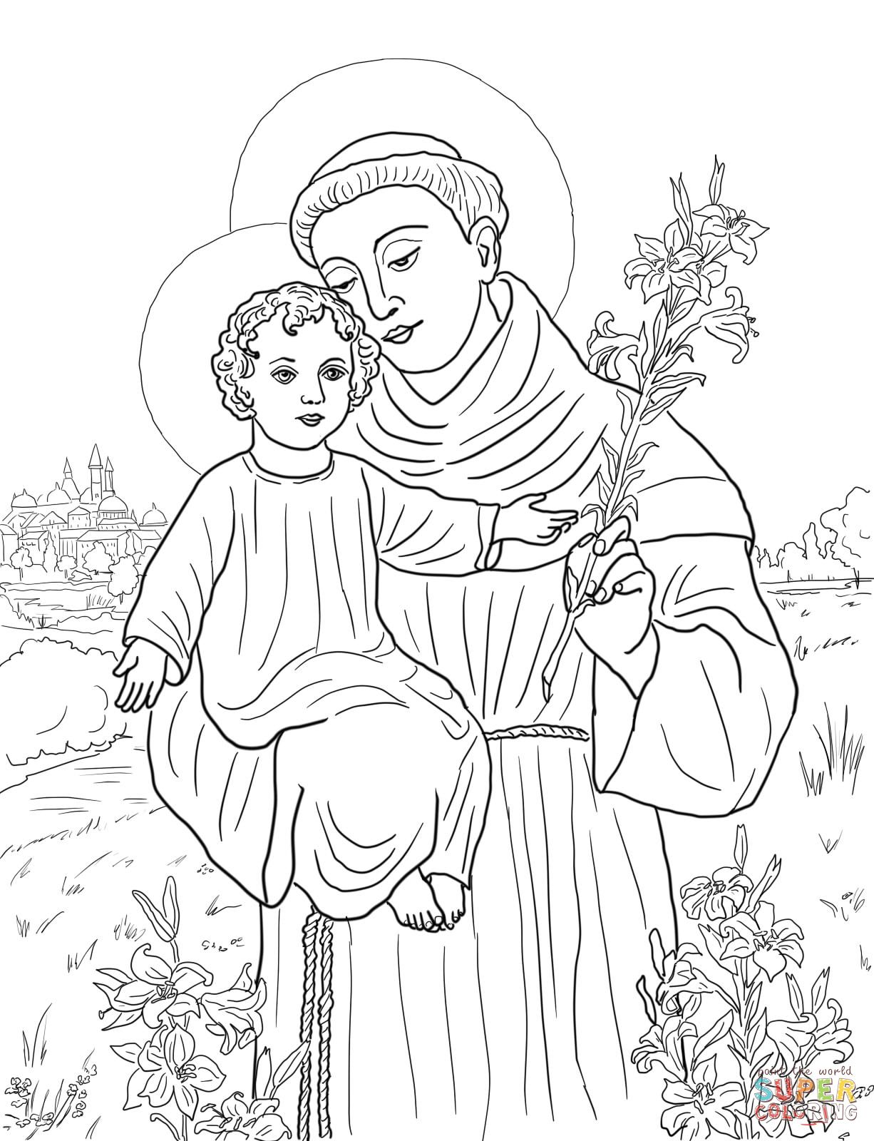 Santa Anna Coloring Page With St Anthony Of Padua Super Pinterest