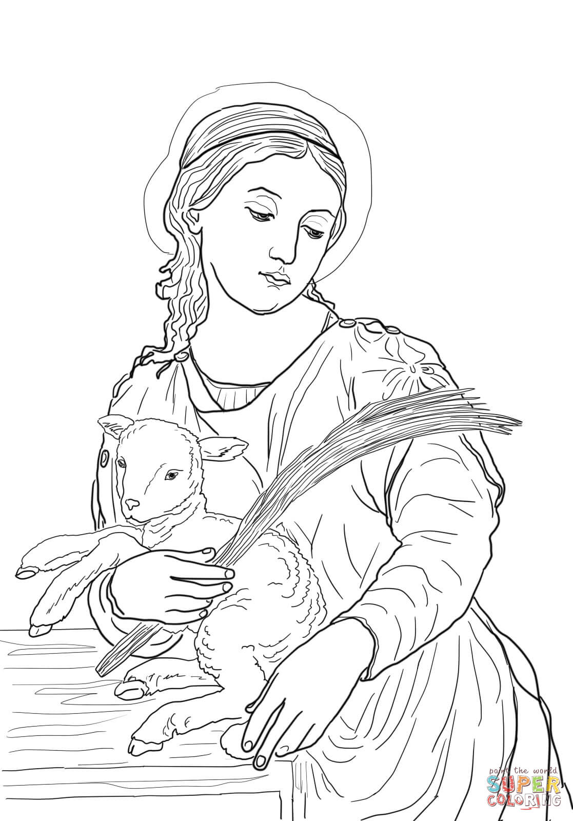 Santa Anna Coloring Pages With Saint Agnes Page Free Printable