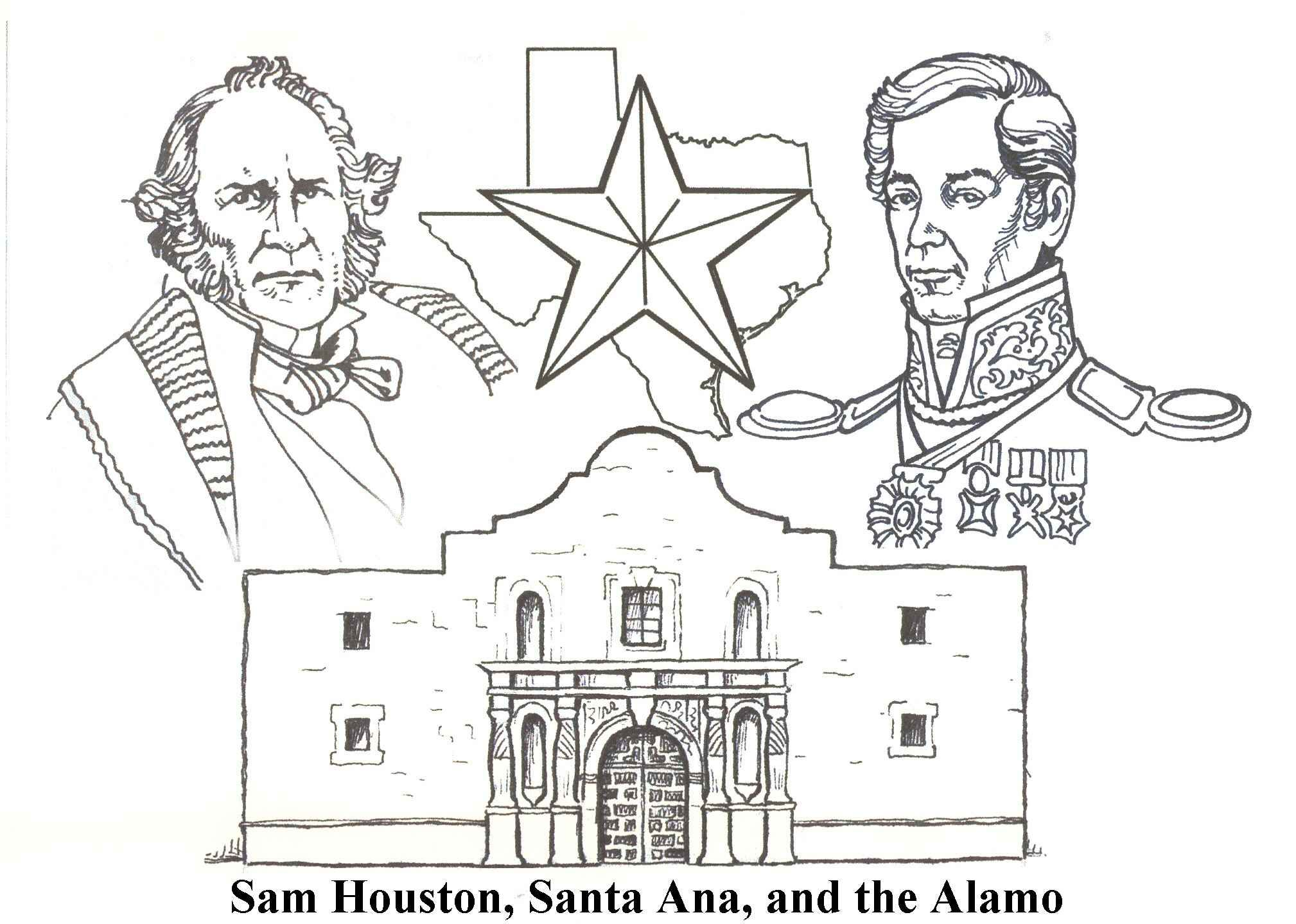 Santa Anna Coloring Pages With Sam Houston And The Alamo Texas Pinterest