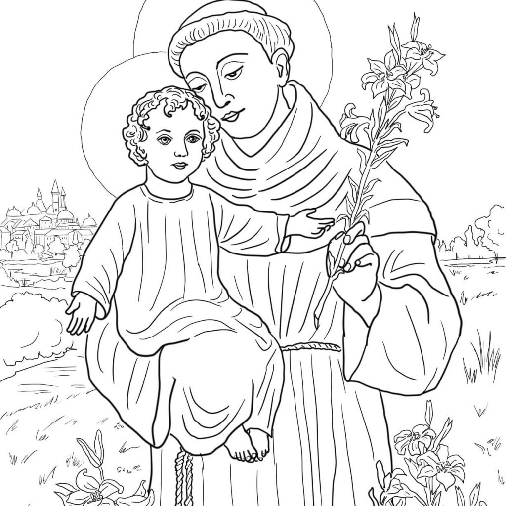 Santa Anna Coloring Pages With St Anthony Of Padua Super Pinterest