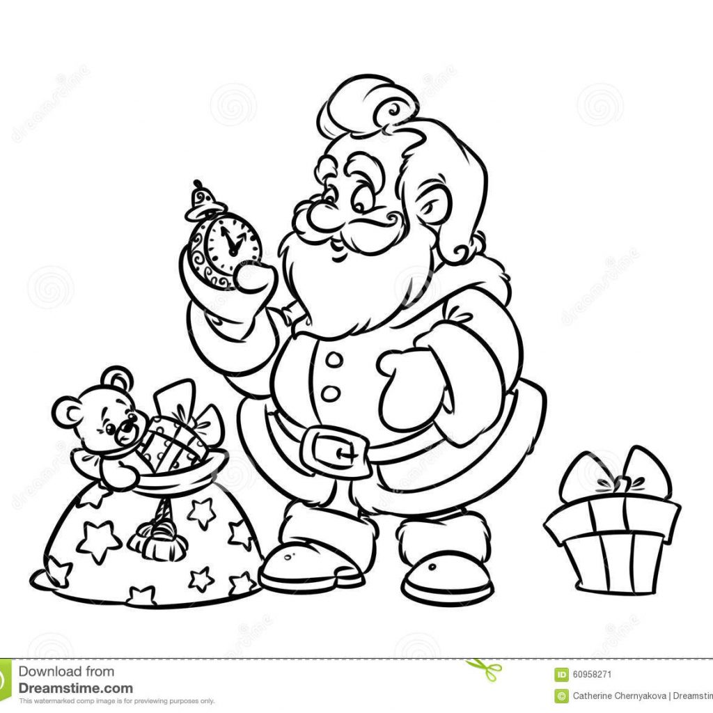 Santa Bag Coloring Page With Christmas Claus Gift Stock Illustration
