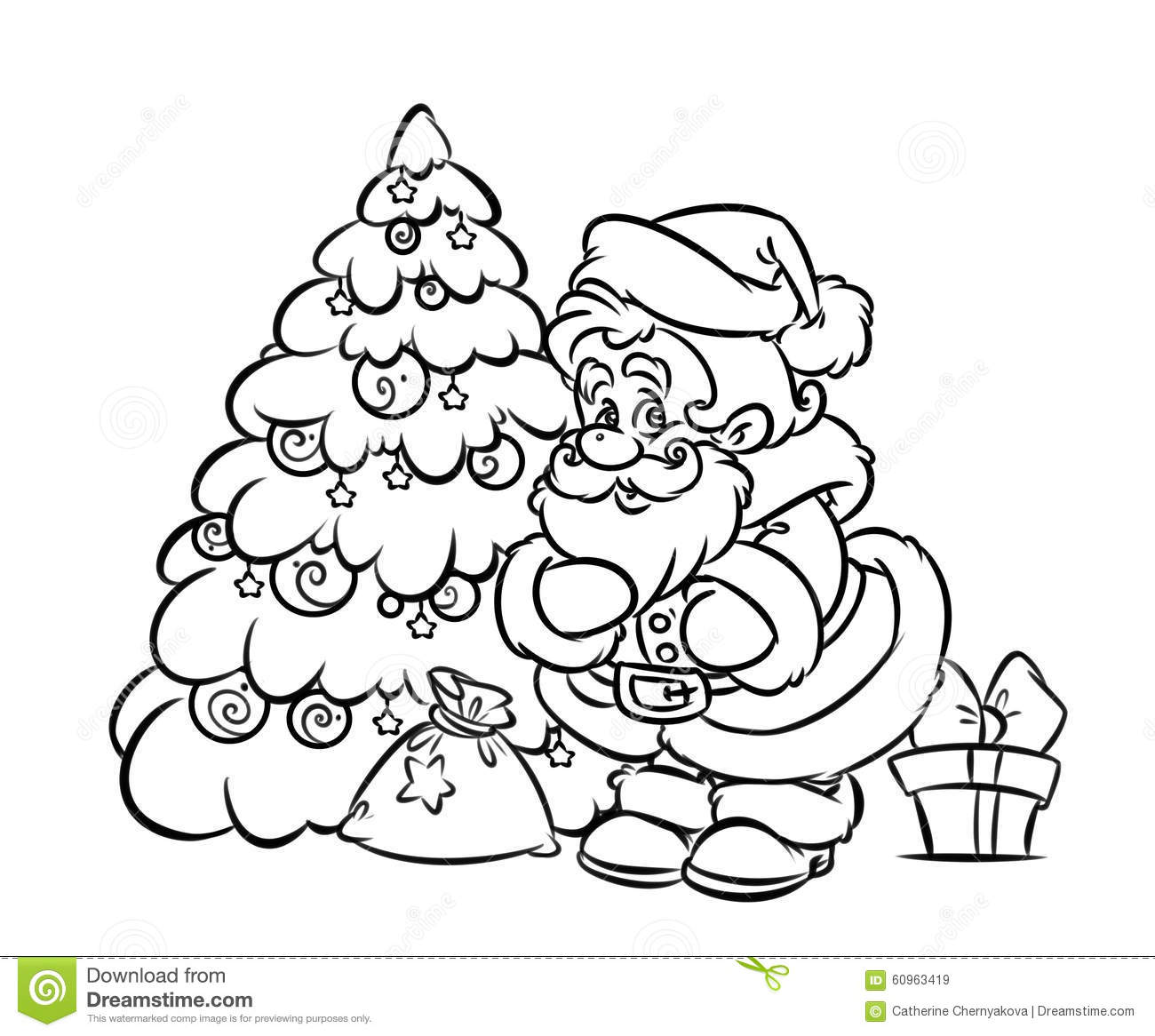 Santa Bag Coloring Page With Christmas Claus Tree Gift Stock Illustration