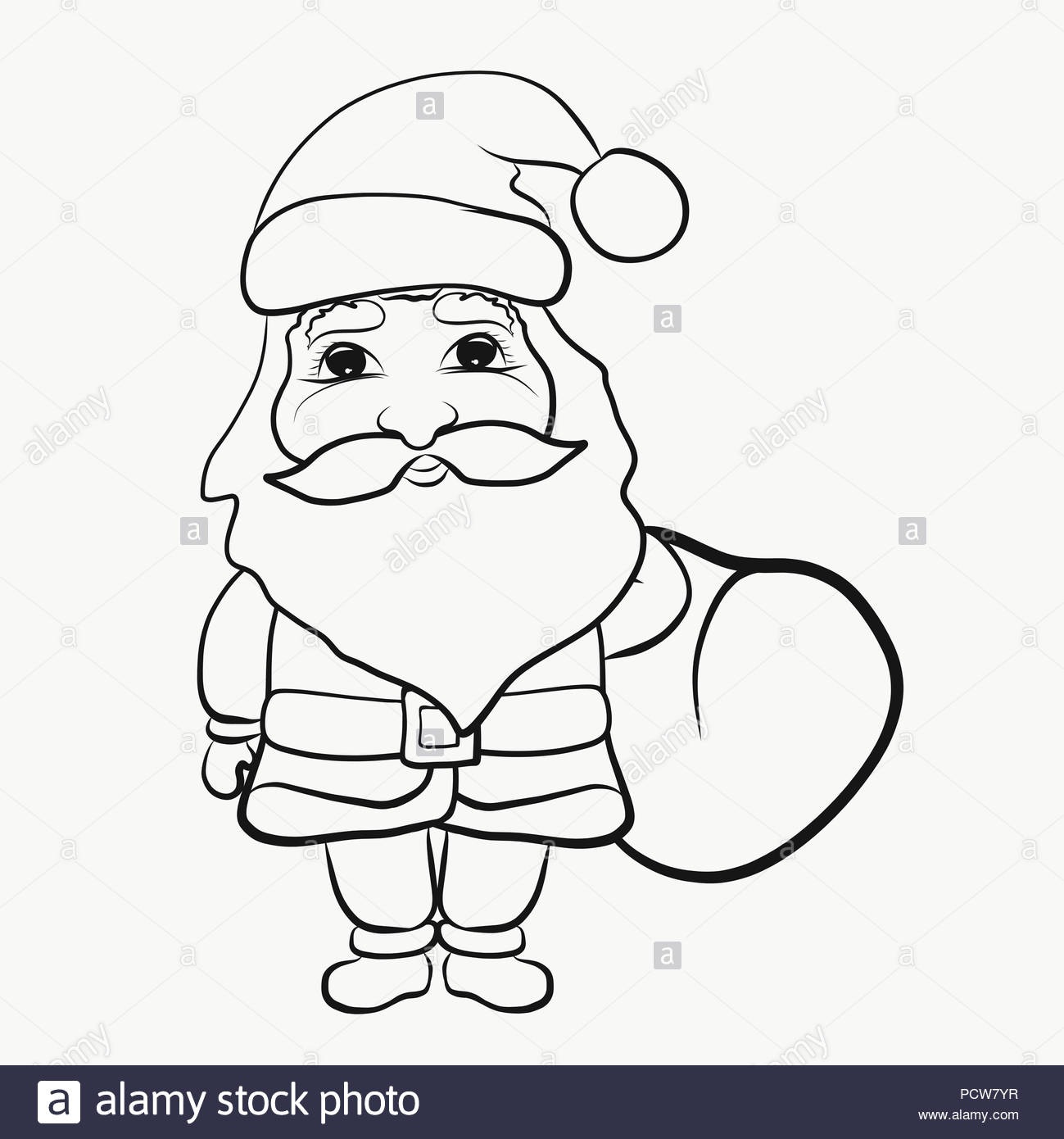 Santa Bag Coloring Page With Claus A Of Gifts Pages Stock Photo