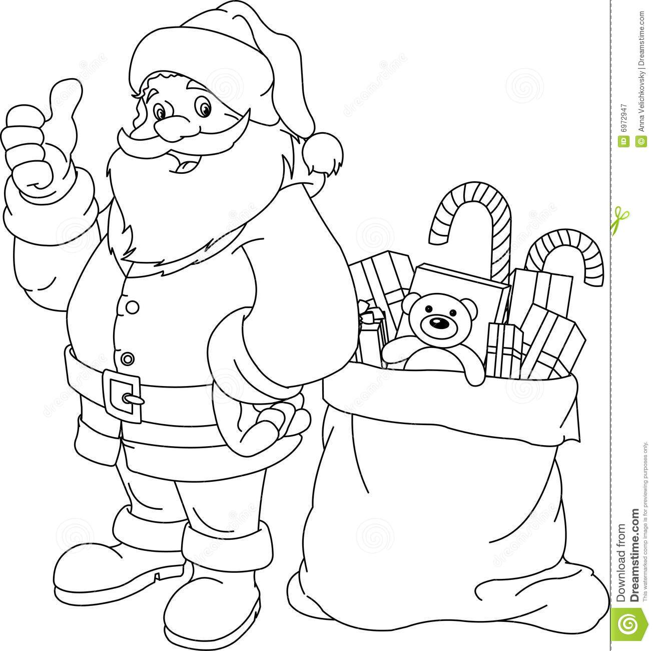 Santa Bag Coloring Page With Claus Stock Vector Illustration Of Cheerful Flutter 6972947