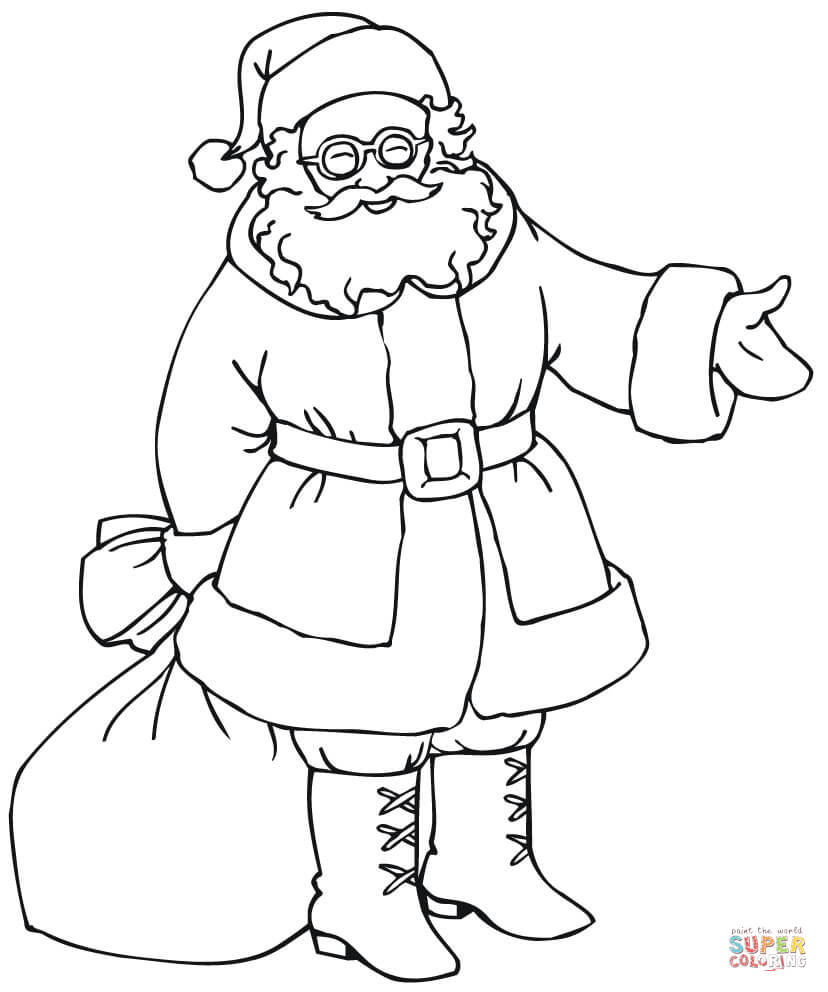 Santa Bag Coloring Page With Gift Free Printable Pages