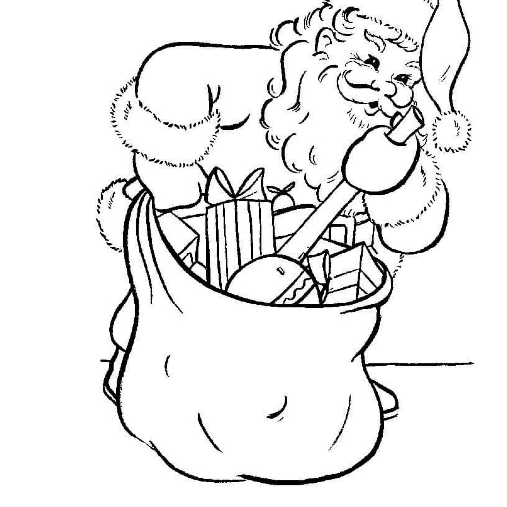 Santa Bag Coloring Page With Is Busy Packing His Free Printable