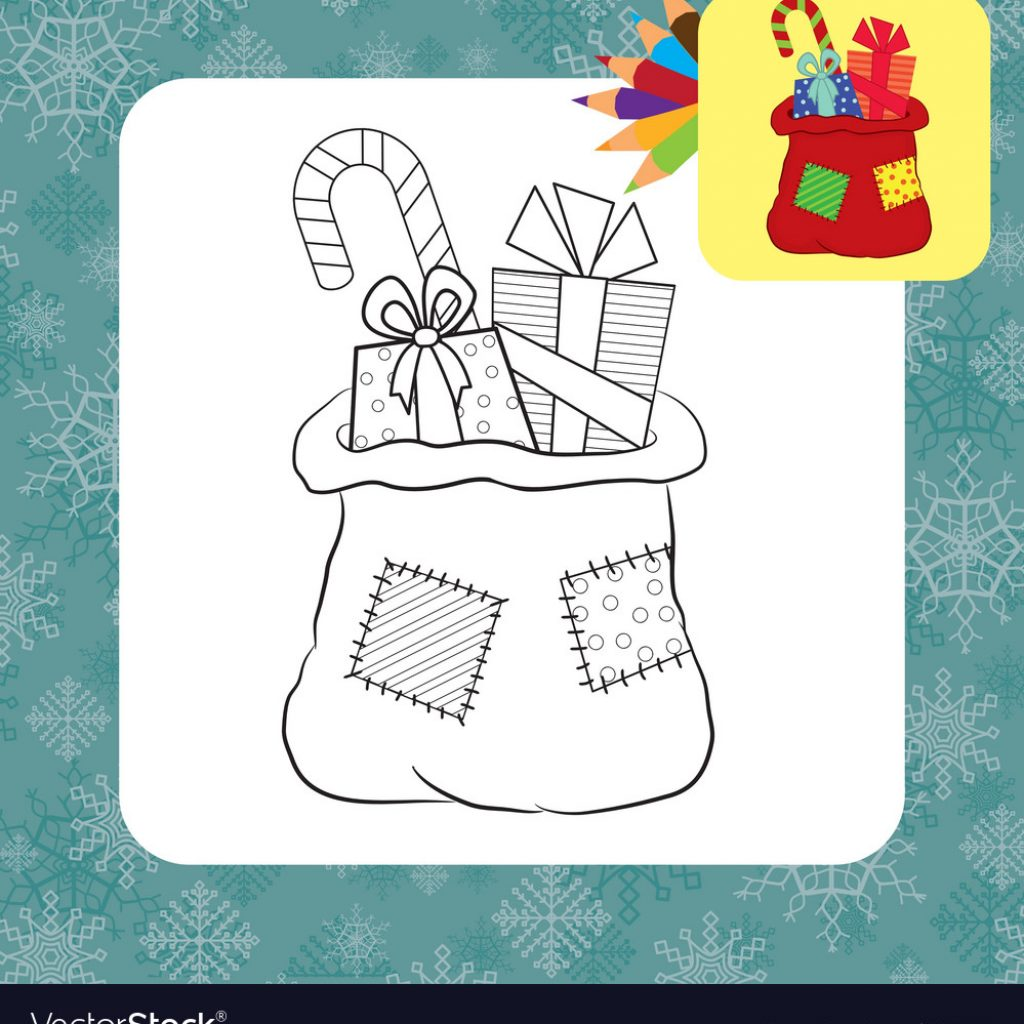 Santa Bag Coloring Page With Vector Image On VectorStock