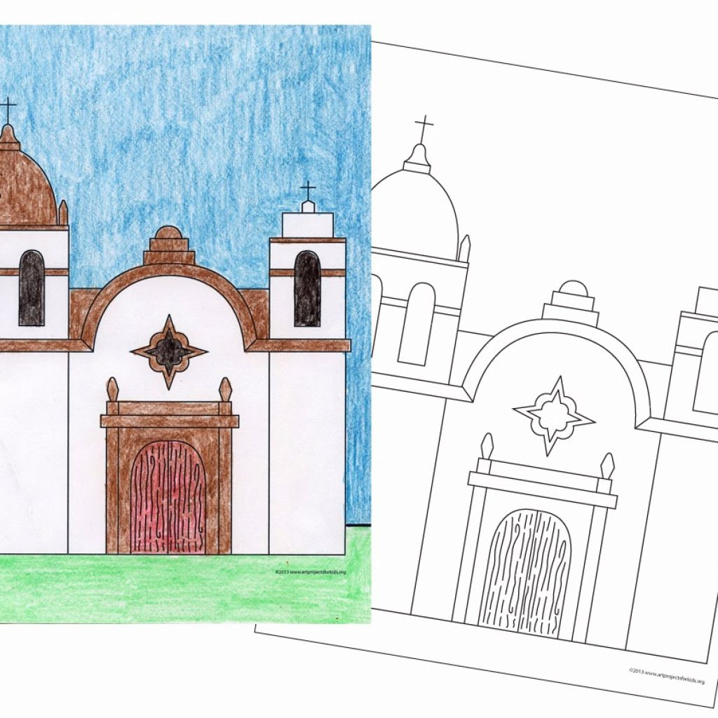 Santa Barbara Mission Coloring Page With 28 Collection Of California Drawings High Quality Free