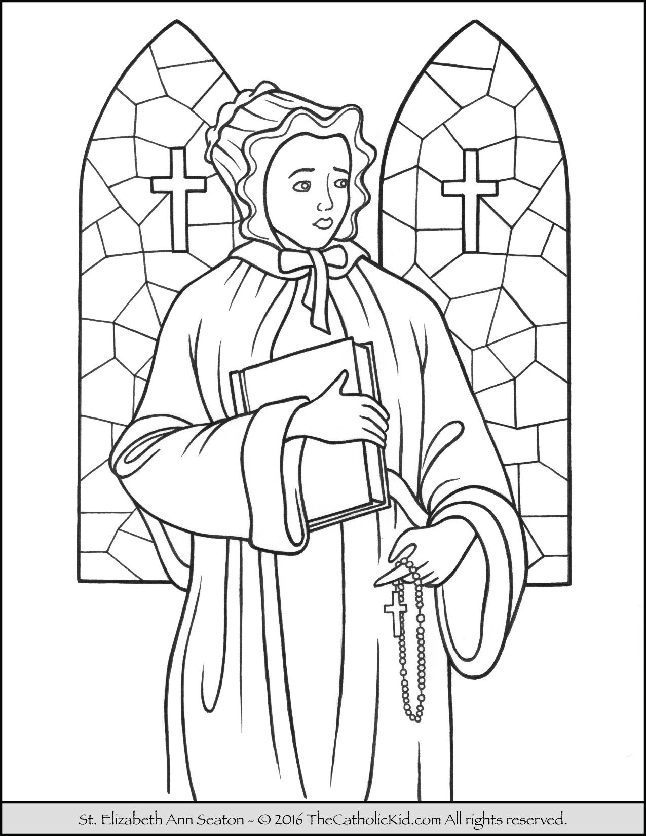 Santa Barbara Mission Coloring Page With Saint Elizabeth Ann Seaton The Catholic Kid