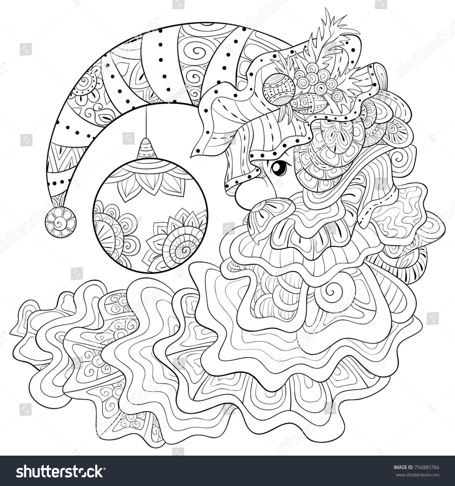 Santa Beard Coloring Page With Adult Pagebook Claus Hat Stock Vector Royalty Free