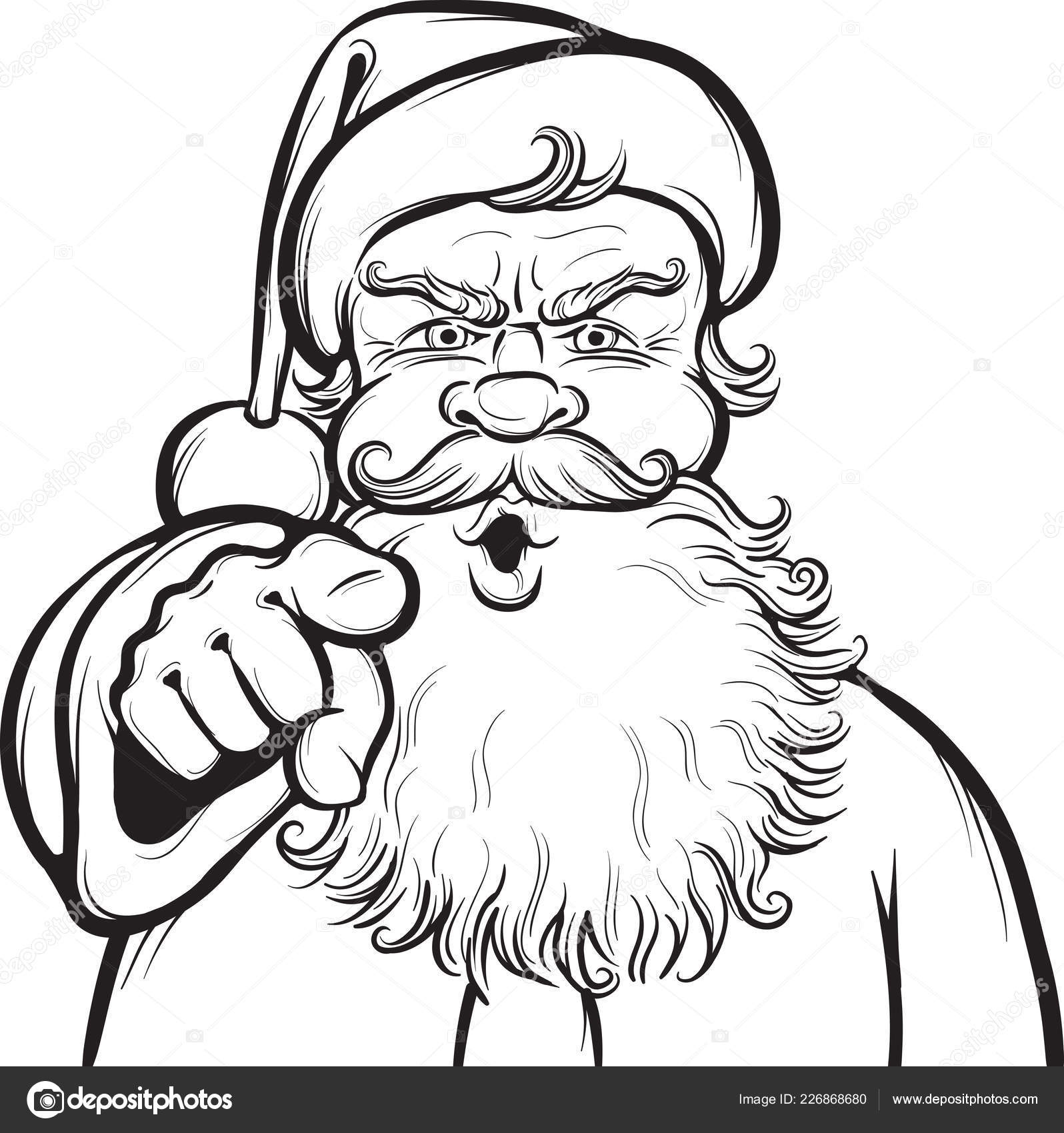Santa Beard Coloring Page With Christmas Stock Vector One Line Man 226868680