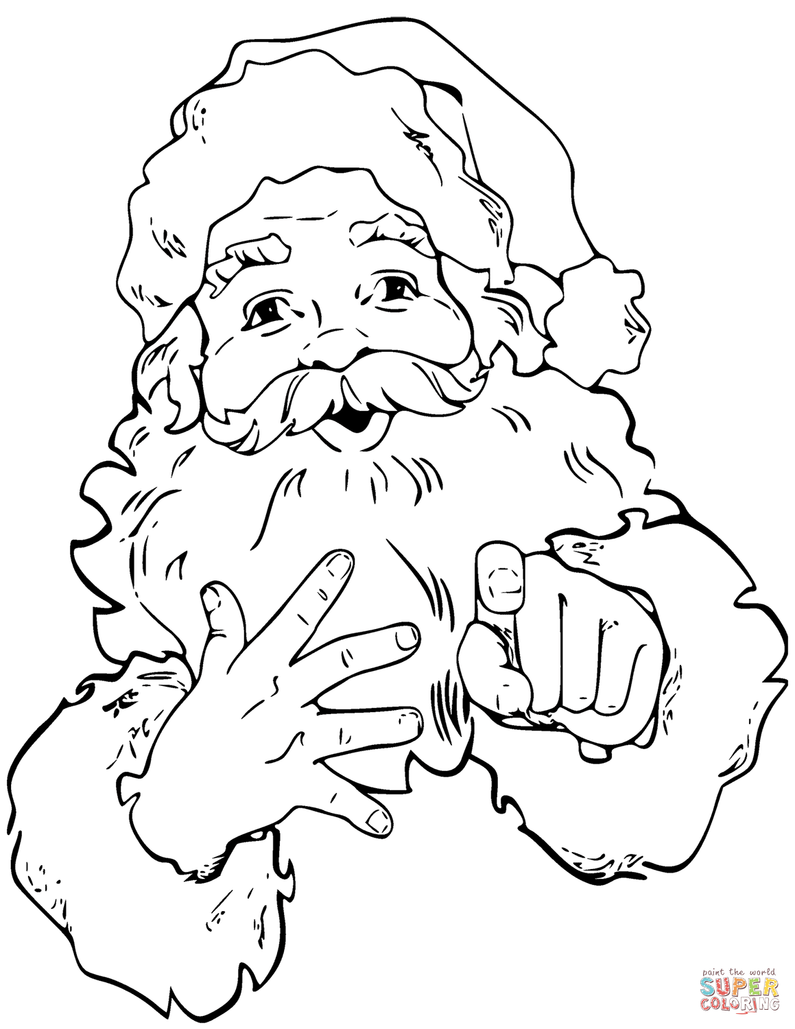 Santa Beard Coloring Page With Claus Is Pointing Finger Free Printable