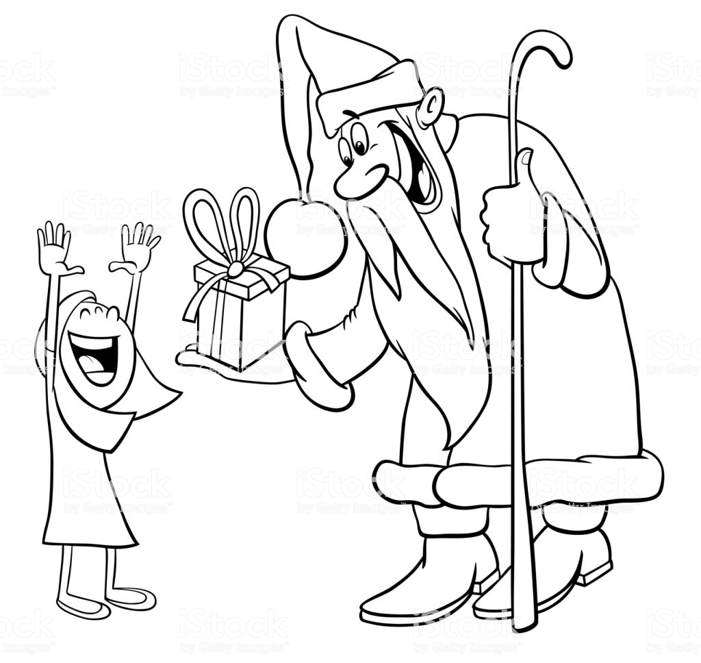 Santa Beard Coloring Page With Claus Little Girl Stock Vector Art More