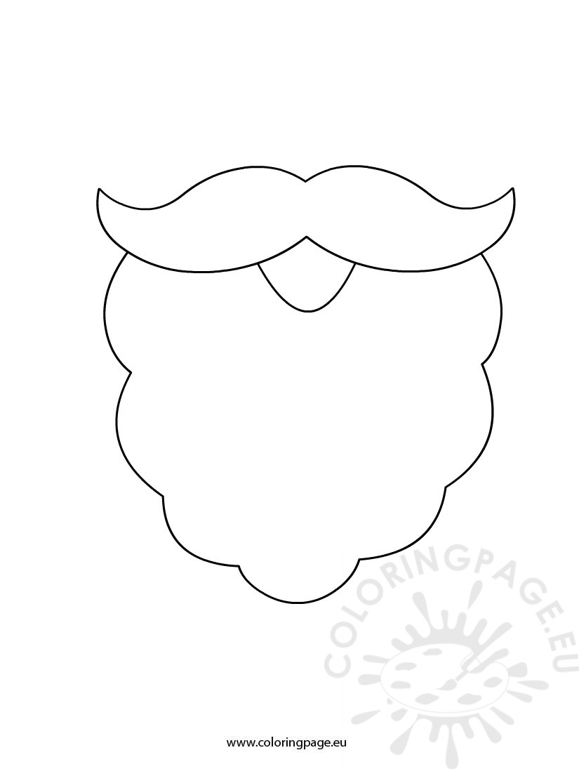 Santa Beard Coloring Page With Template
