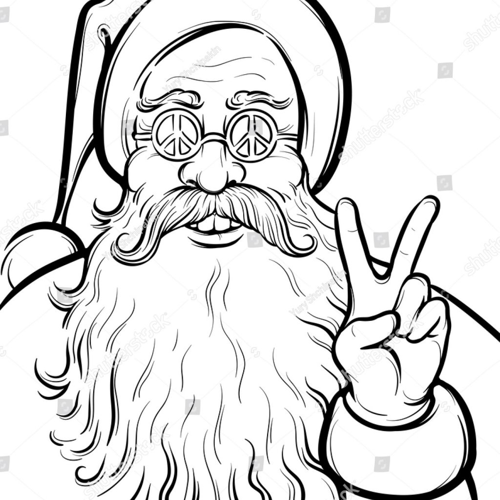 Santa Beard Coloring With Christmas Hippie Page Claus Stock Vector Royalty