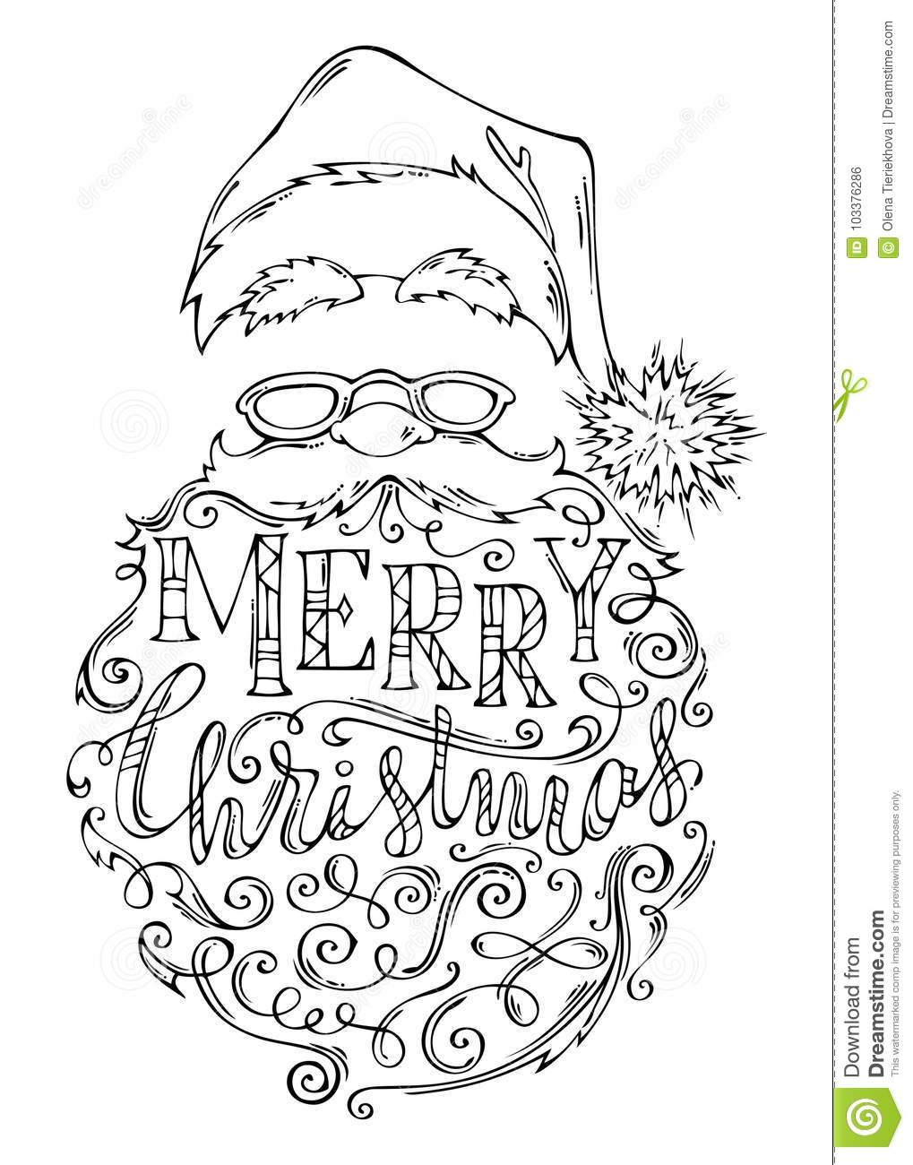 Santa Beard Coloring With Doodles Merry Christmas Lettering Stock Vector Illustration Of