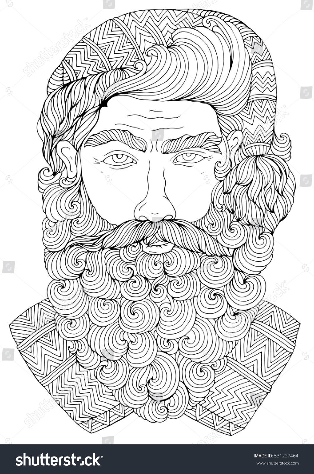 Santa Beard Coloring With Hand Drawn Christmas Portrait Of Hipster Claus A Long