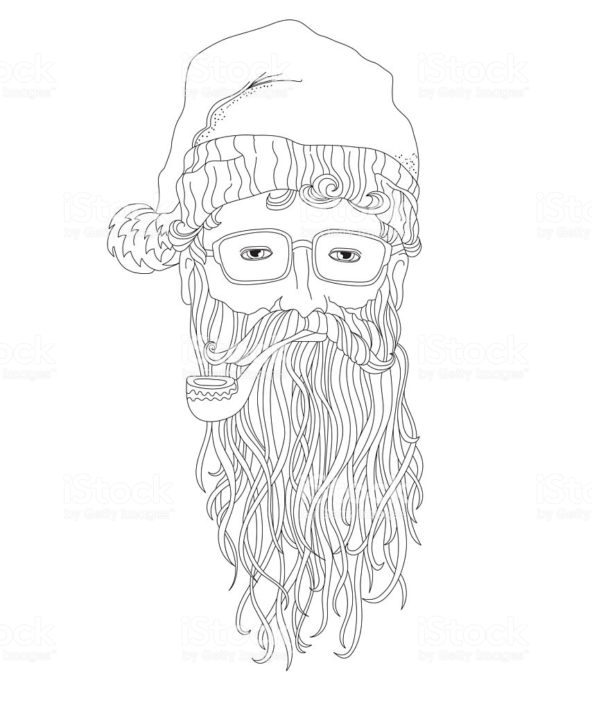 Santa Beard Coloring With Hipster Page For Children And Adults Stock Vector Art