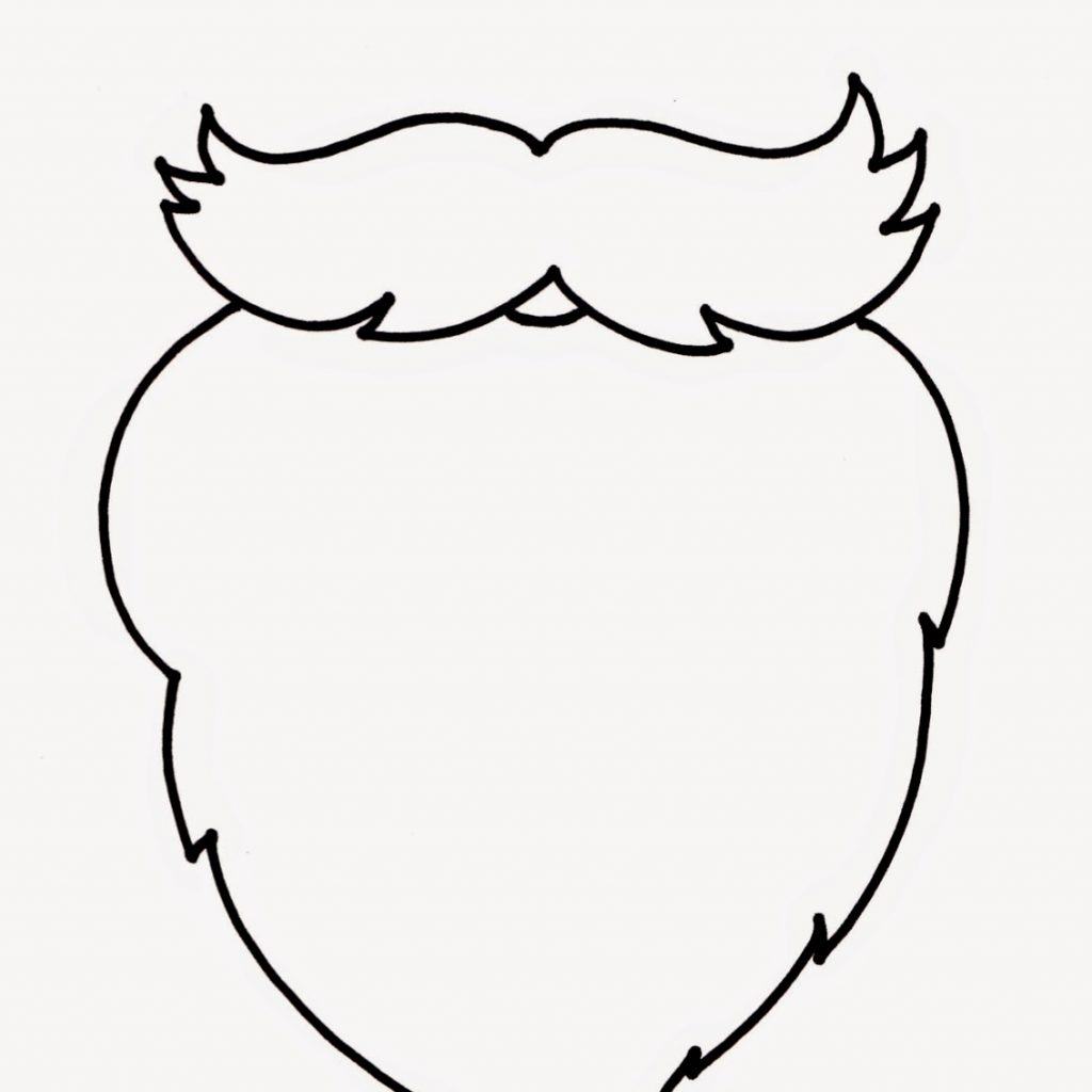 Santa Beard Coloring With Template Page Free