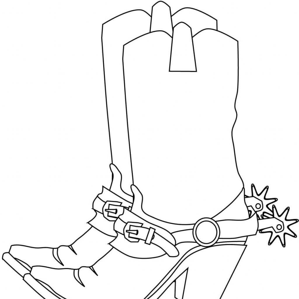 Santa Boot Coloring With Cowboy Boots Page Free Printable Pages