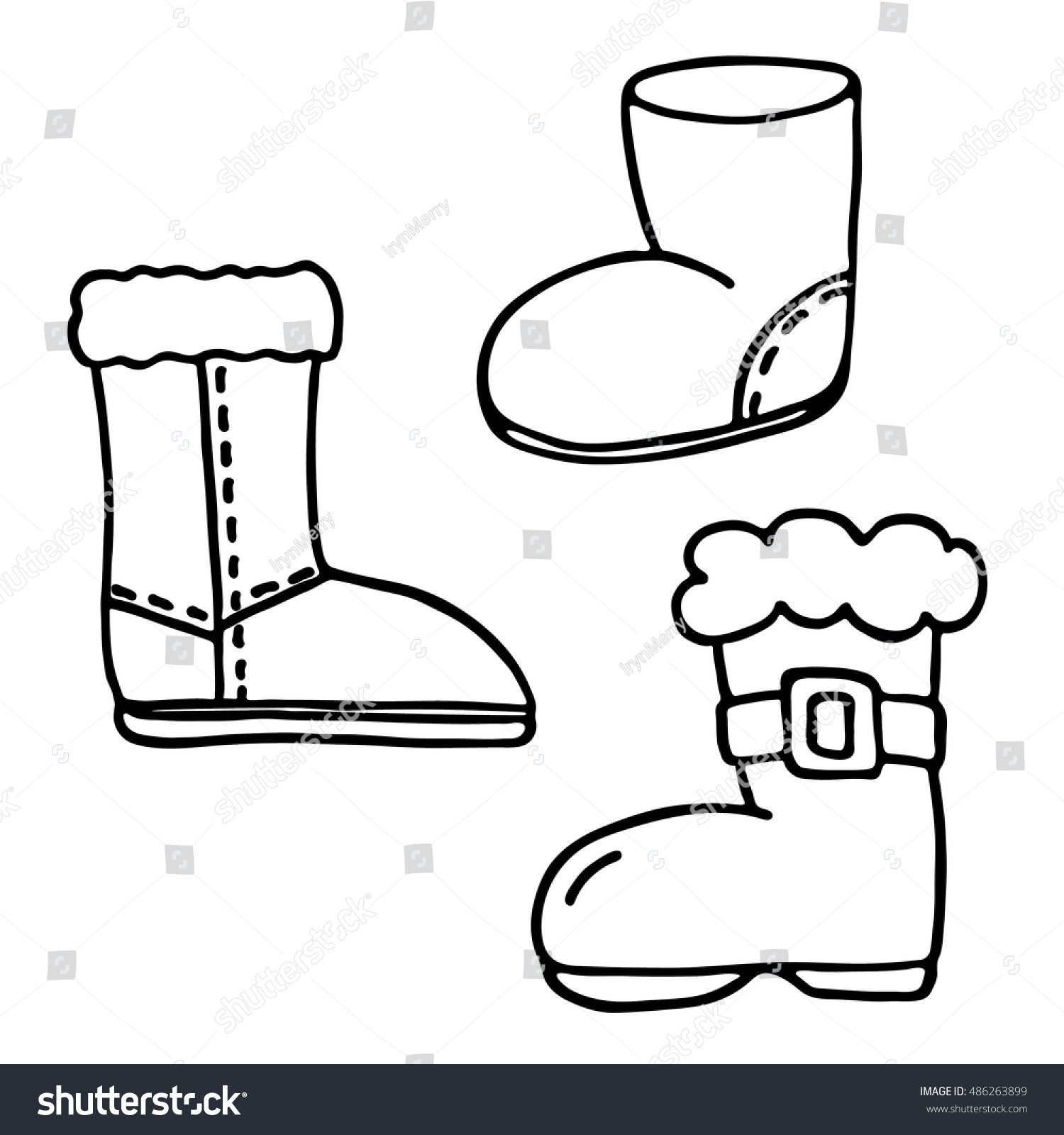 Santa Boot Coloring With Icons Set Stock Vector Royalty Free 486263899