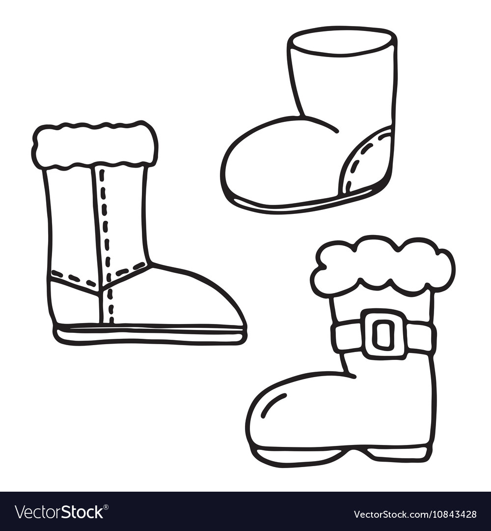 Santa Boot Coloring With Icons Set Vector Image On VectorStock
