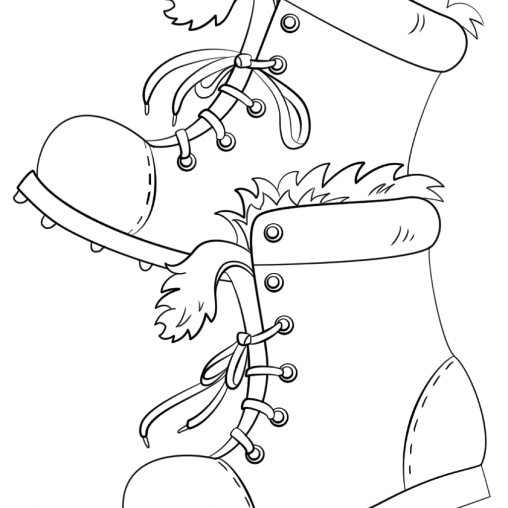 Santa Boot Coloring With Winter Boots Page Free Printable Pages