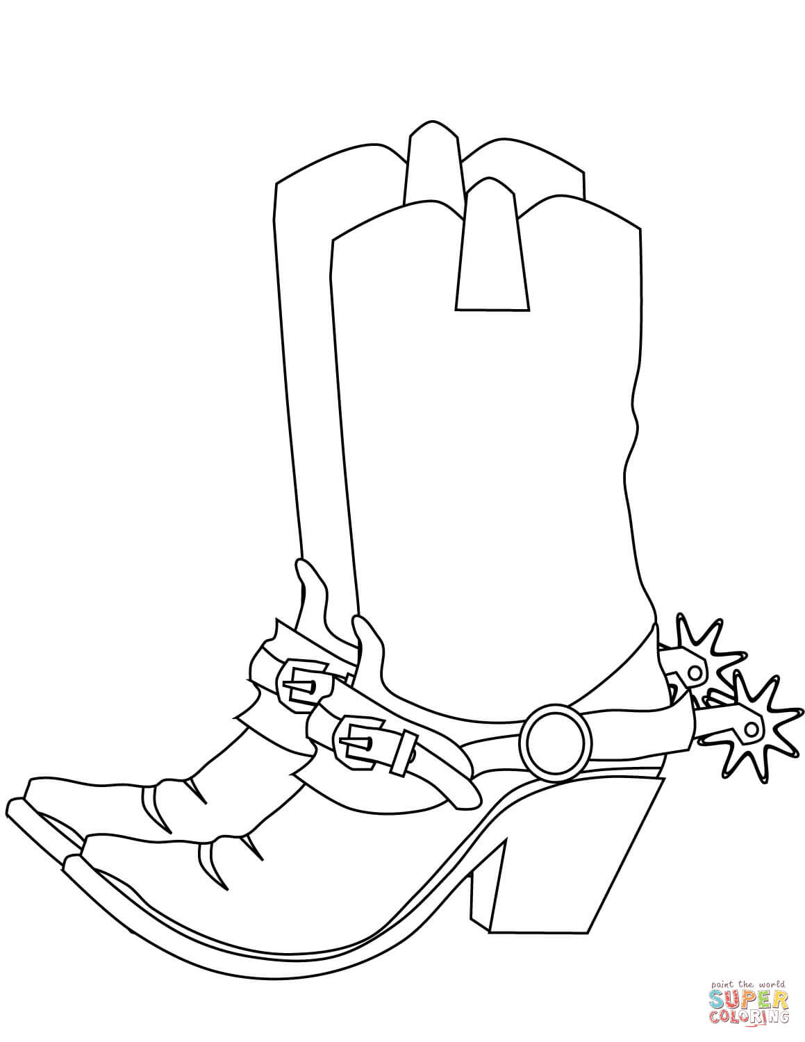 Santa Boots Coloring Pages With Cowboy Page Free Printable