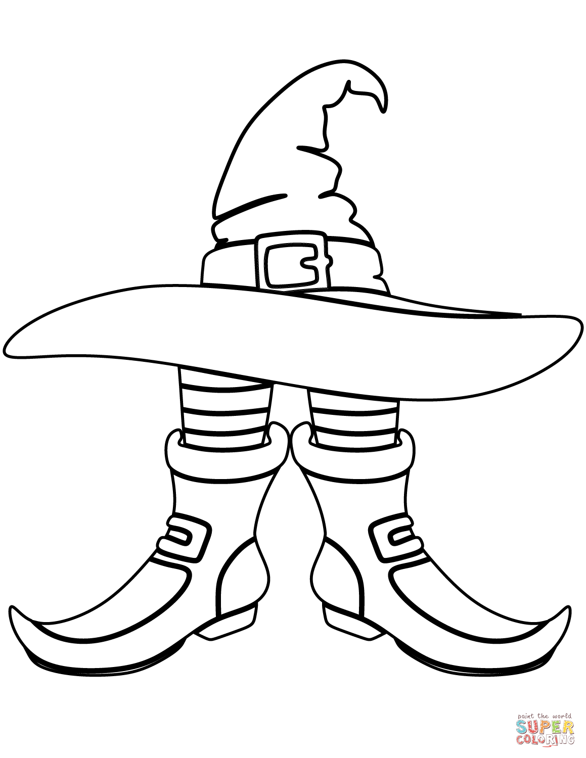 Santa Boots Coloring Pages With Witch Hat And Page Free Printable
