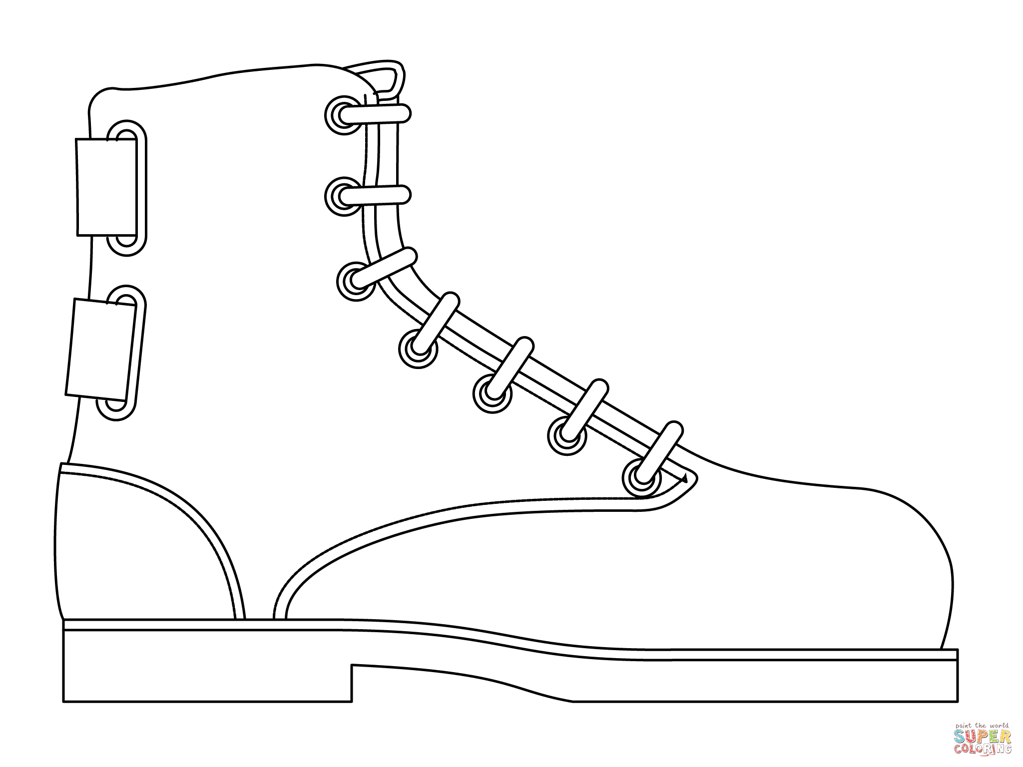 Santa Boots Coloring Pages With Work Boot Page Free Printable