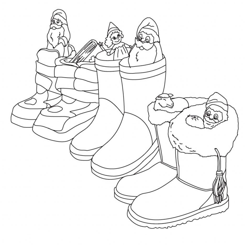 Santa Boots Coloring Sheet With Claus Saint Nicholas Pages Hellokids Com