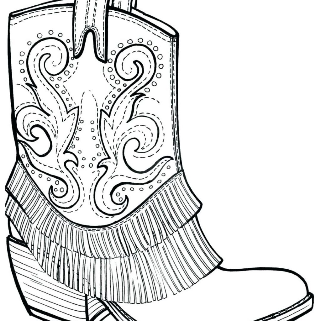 Santa Boots Coloring Sheet With Cowgirl Pages Collection Stunning Boot Page