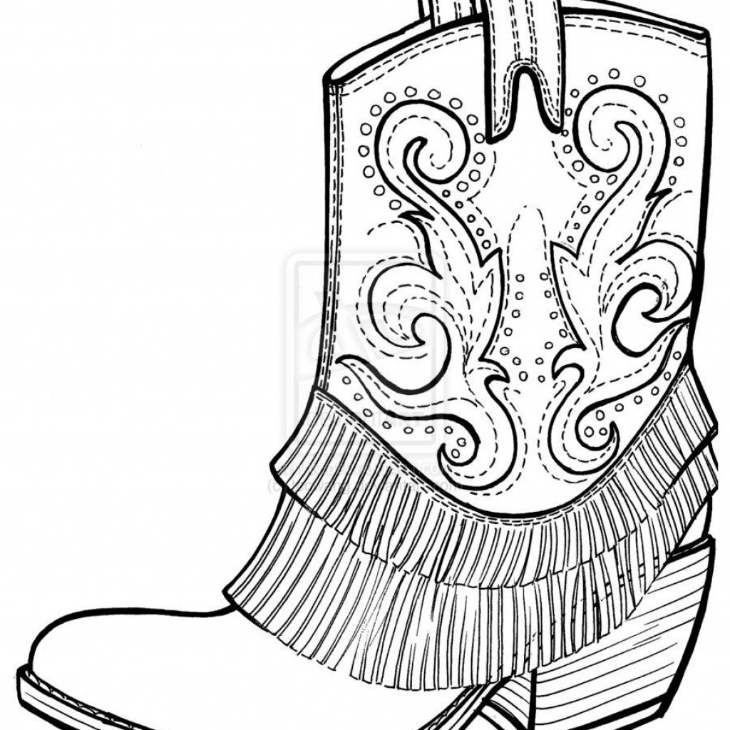 Santa Boots Coloring Sheet With Free Picture Of Cowboy Page