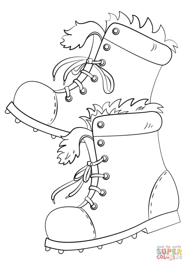 Santa Boots Coloring Sheet With Winter Page Free Printable Pages